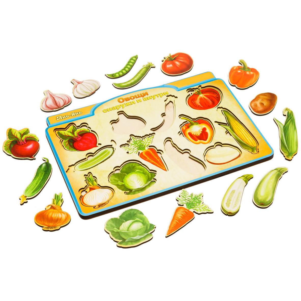 Сортер - пазл: Овощи снаружи и внутри