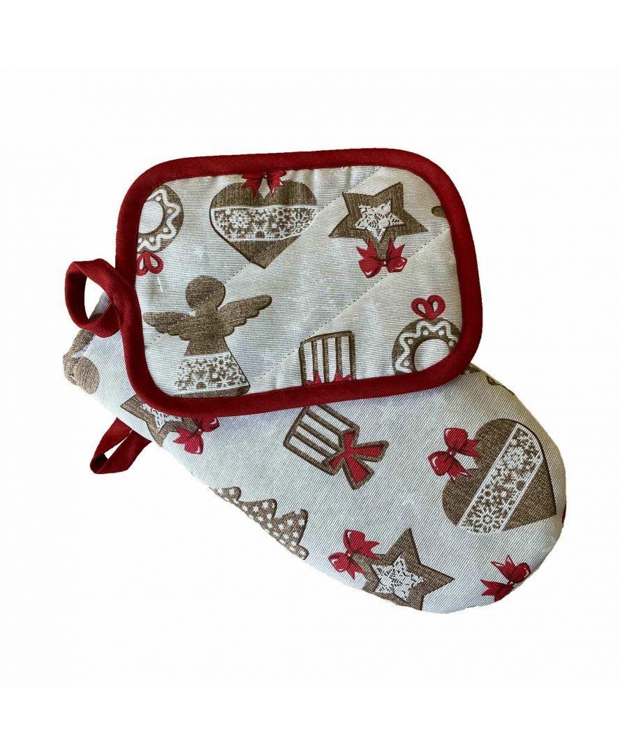 Набір рукавиця і кухонна прихватка Печиво новорічна