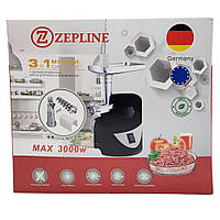 Электрическая мясорубка с реверсом Zepline ZP-003 Кухонная электромясорубка с насадкой для томатов Черная