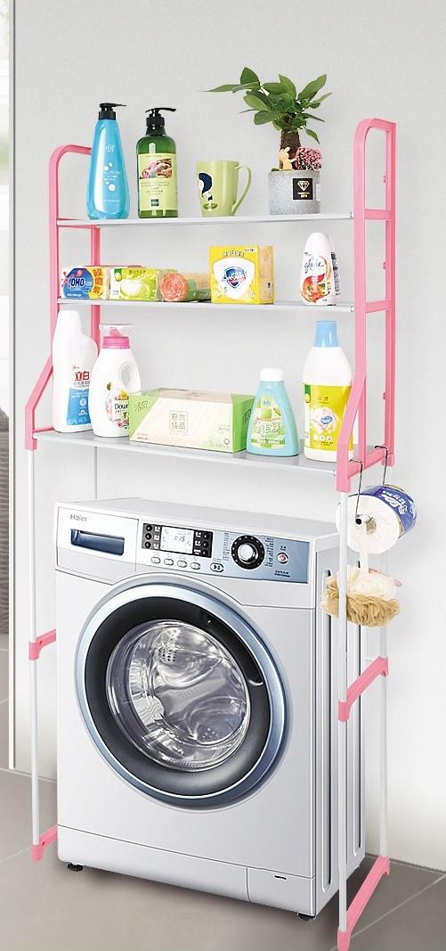 Полиця-стелаж підлогова над пральною машиною Органайзер для зберігання речей Біло-Рожева 152 см