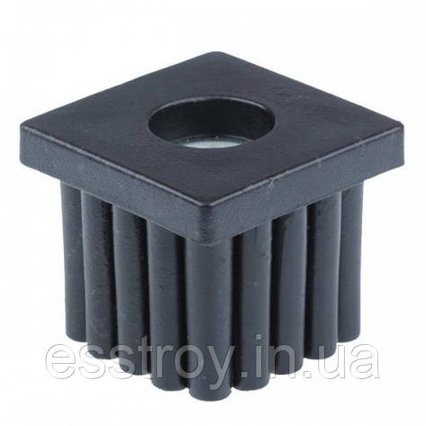 Заглушка для профільної труби 20х20 мм плоска чорна з різьбою М6, фото 2