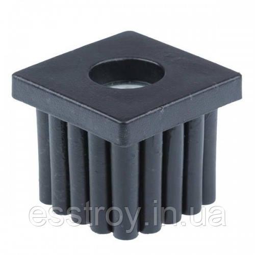 Заглушка для профільної труби 20х20 мм плоска чорна з різьбою М6