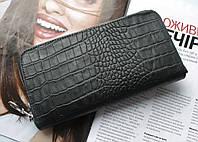 Женский кожаный кошелек с тиснением под крокодила