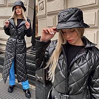 Пальто-пуховик женское теплое из эко кожи стеганное прямого кроя с накладными карманами с поясом Gsa1487