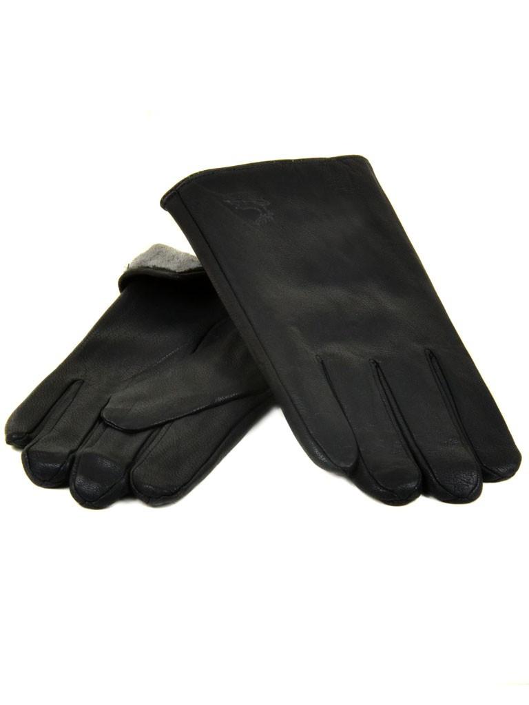 Перчатка Мужская иск-кожа-олень M25 Махра мод2 black