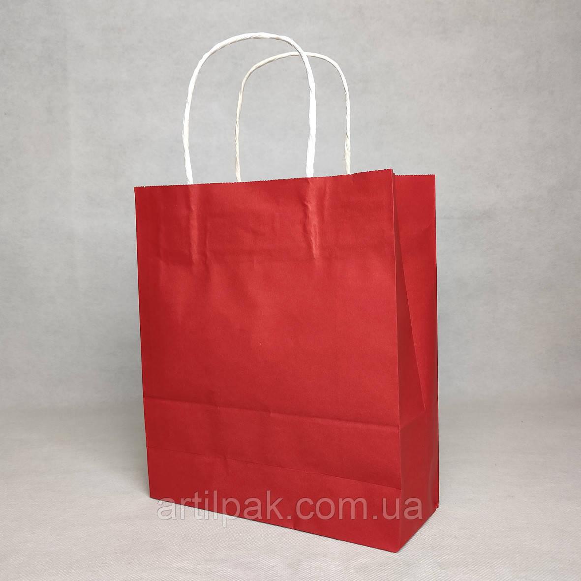 Пакет паперовий 240*200*80 червоний з плоским дном та крученими ручками 100г/м2