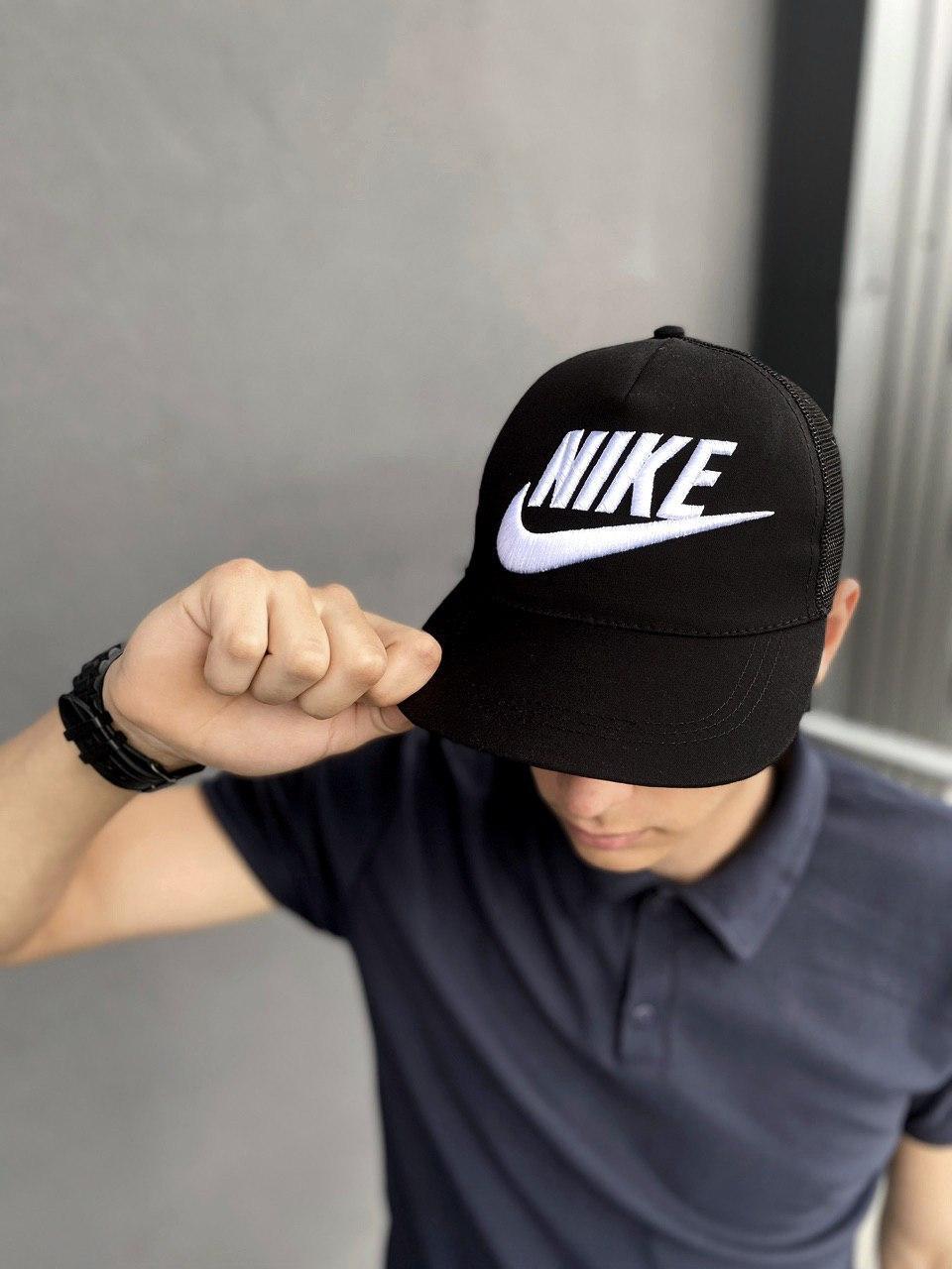 Кепка Nike мужская   женская найк черная big white logo