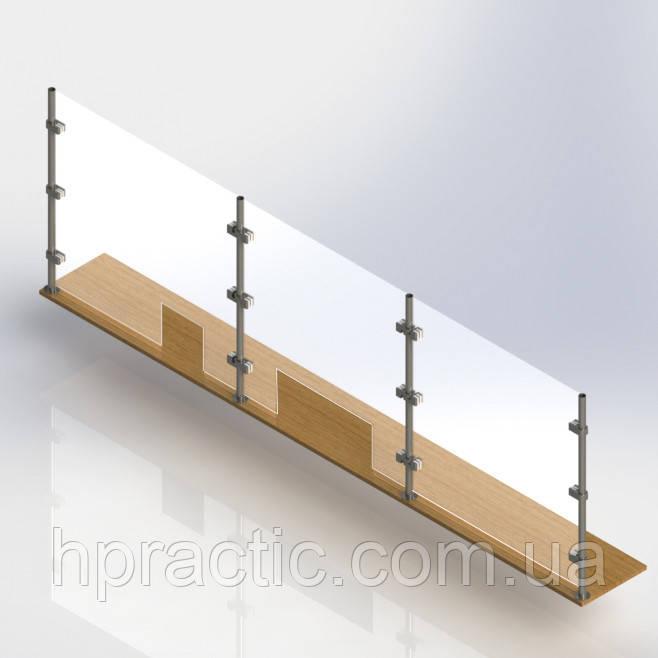 Перегородка с крепежом к столу высота 800 мм, мп