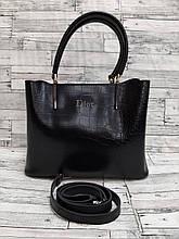 Женская сумка из экокожи под рептилию в стиле Dior.
