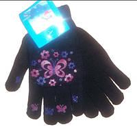 Перчатки для девочек двойные подростковые, арт. 2014