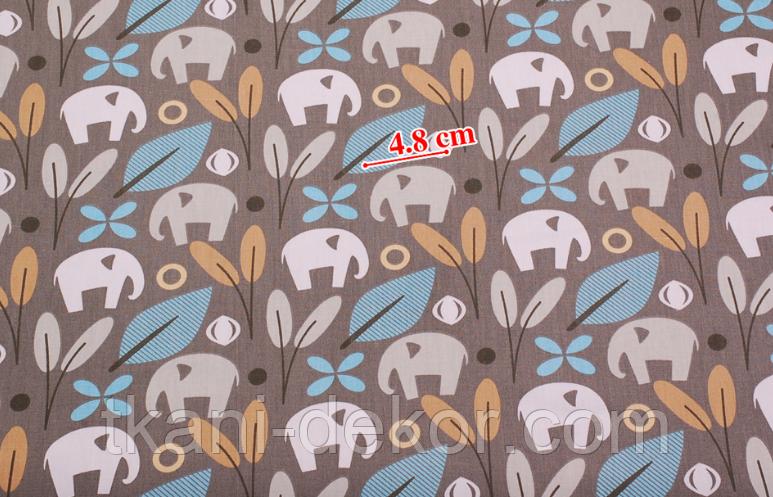 Сатин (хлопковая ткань)  на сером фоне слоны и голубые цветы (40*155)
