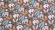 Сатин (хлопковая ткань)  на сером фоне слоны и голубые цветы (40*155), фото 2