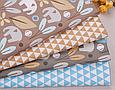Сатин (хлопковая ткань)  на сером фоне слоны и голубые цветы (40*155), фото 3