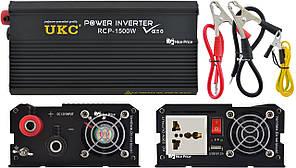 Профессиональный преобразователь инвертор UKC 12V-220V RCP-1500W + USB Black (4145)