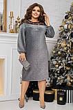 Нарядное платье женское Люрекс и флок на сетке Размер 48 50 52 54 56 58 60 62 В наличии 5 цветов, фото 4