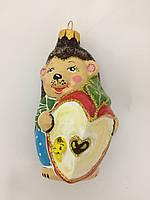 Стеклянная Ёлочная игрушка на ёлку ручной работы, формавая ёлочная игрушка Ёжик