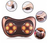 Роликовая массажная подушка для шеи спины и плеч Massage pillow WJ008, Массажер для шеи