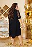 Шикарное сверкающее нарядное вечернее платье с вышивкой на сетке спереди и рукавах, батал большие размеры, фото 6