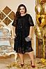 Шикарное сверкающее нарядное вечернее платье с вышивкой на сетке спереди и рукавах, батал большие размеры, фото 2