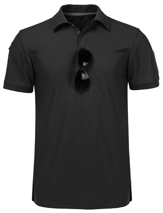 Тактическая футболка поло Outsideca с коротким рукавом (Черный)