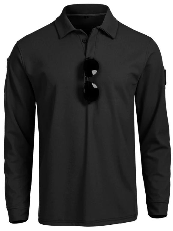 Тактическая футболка поло Outsideca с длинным рукавом (Черный)