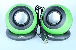 Колонки 2.0 JEDEL SD-018 USB+3.5 mm, 2x3W, 90Hz - 20KHz, з регулятором гучності, Black/Green, BOX, Q50