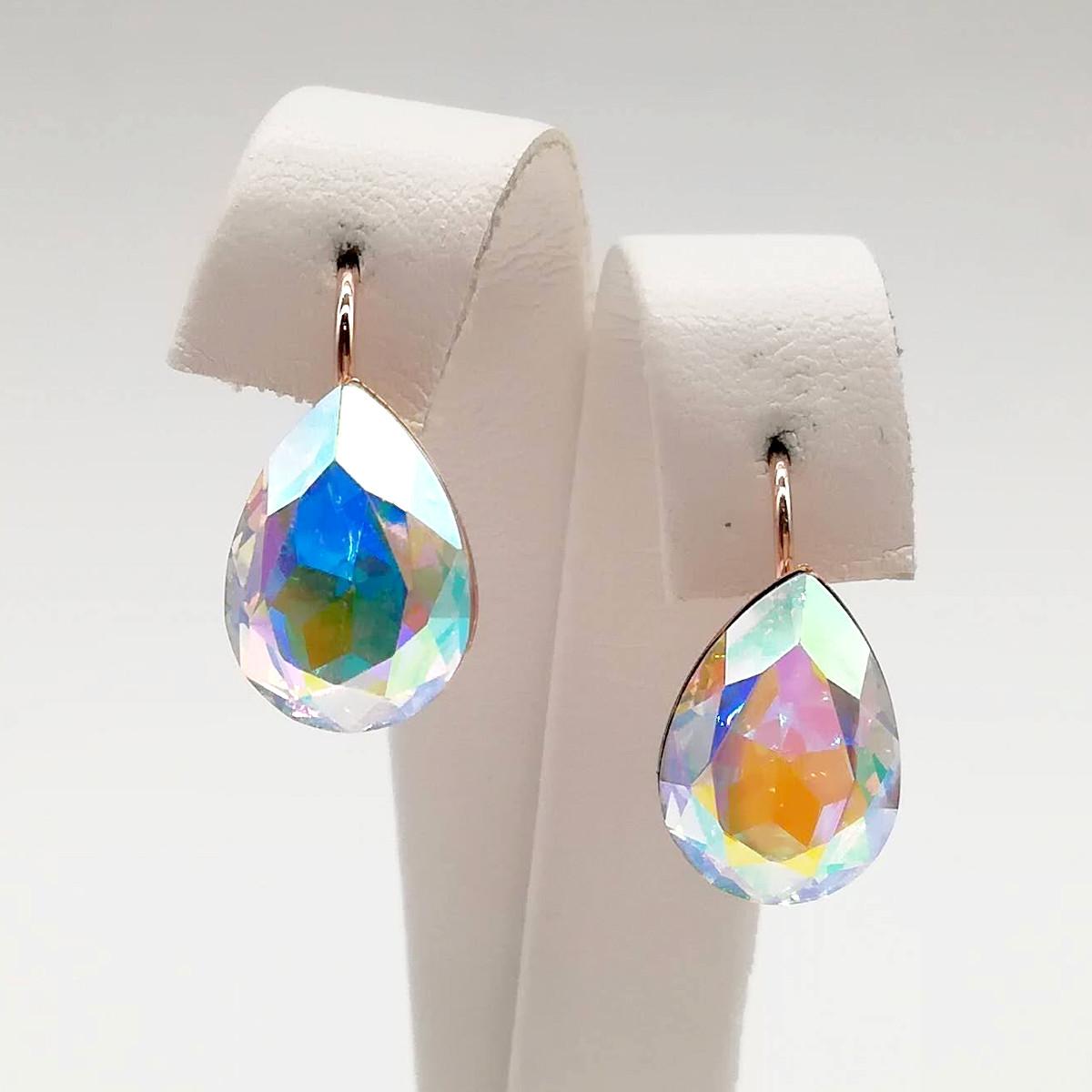 "Серьги SONATA из медицинского золота, кристаллы Swarovski цвета ""Хамелеон"", позолота PO, 24738"
