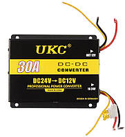 Инвертор (преобразователь напряжения) UKC DC/DC 24v-12v 30A (3398)