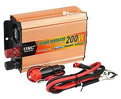 Перетворювач напруги (інвертор) 12-220V 200W + USB Gold (7063)