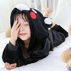 Кигуруми піжама дитяча чорний Ведмідь костюм комбінезон 100