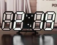 Электронные настольные LED часы с будильником и термометром LY-1089 Black (белая подсветка) (6803)
