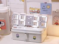 Электронные настольные LED часы с будильником и термометром LY-1089 White (белая подсветка) (6803)