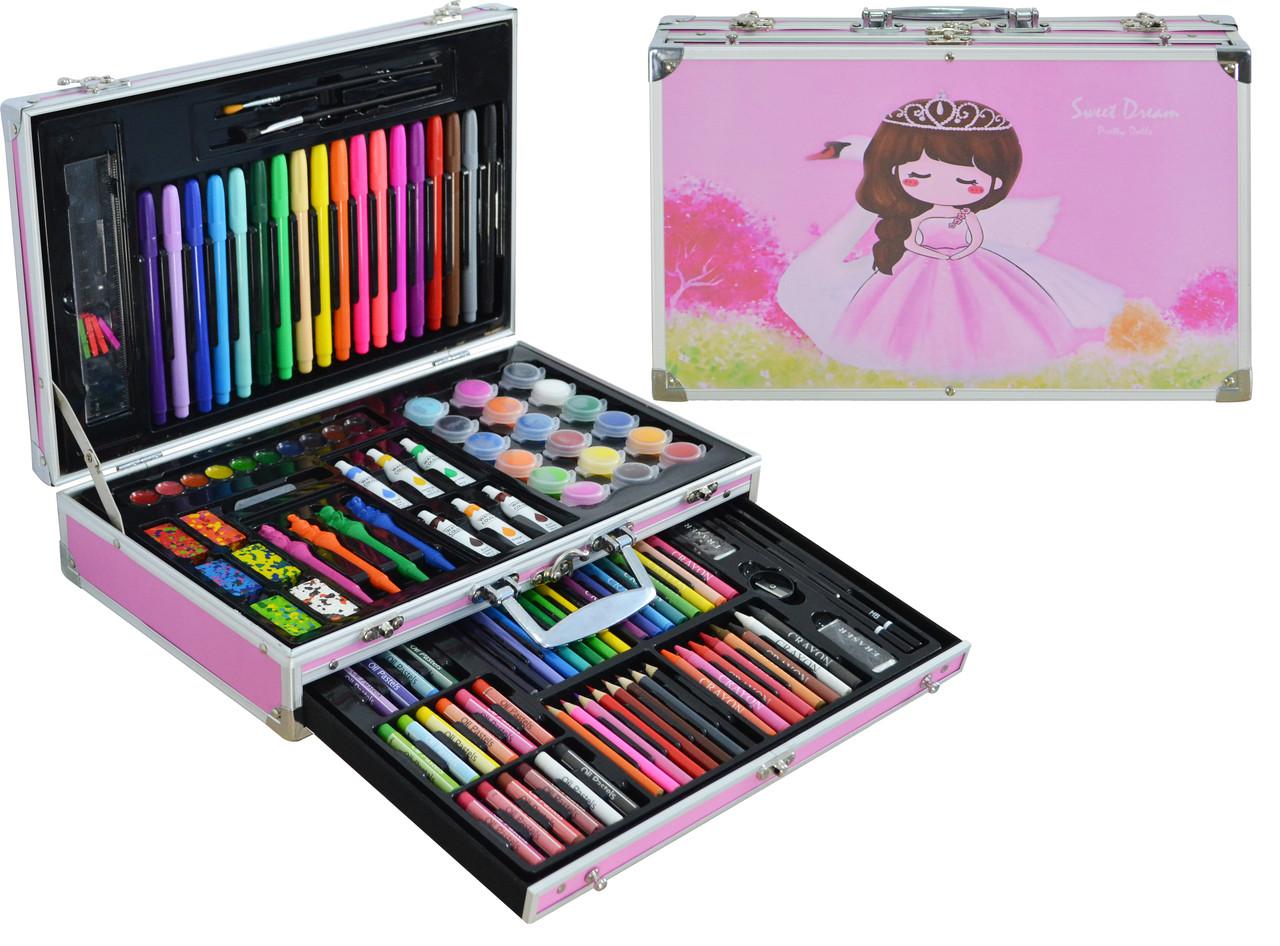 Набор для детского творчества (рисования) Foco в алюминиевом чемодане из 122 предметов Pink
