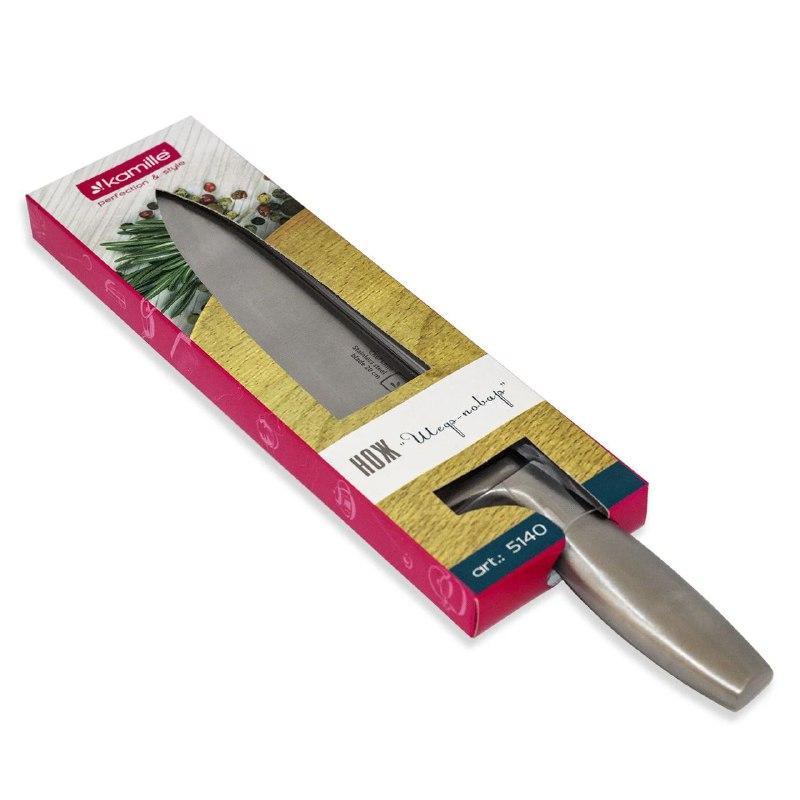 Нож  из нержавеющей стали с полой ручкой Kamille 20 см