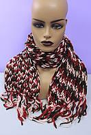Красивый женский вязаный шарф крупная вязка разноцветный