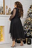 Нарядное платье женское Турецкий флок на сетке Размер 48 50 52 54 56 58 60 62 В наличии 3 цвета, фото 8