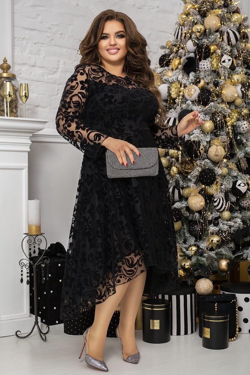 Нарядное платье женское Турецкий флок на сетке Размер 48 50 52 54 56 58 60 62 В наличии 3 цвета