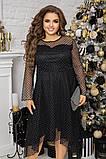 Нарядное платье женское Турецкий флок на сетке Размер 48 50 52 54 56 58 60 62 В наличии 3 цвета, фото 3