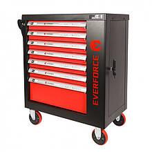 Тележка инструментальная 7-и полочная(красная) с набором инструментов 273пр и доп.-ой боковой секцией 970х880х