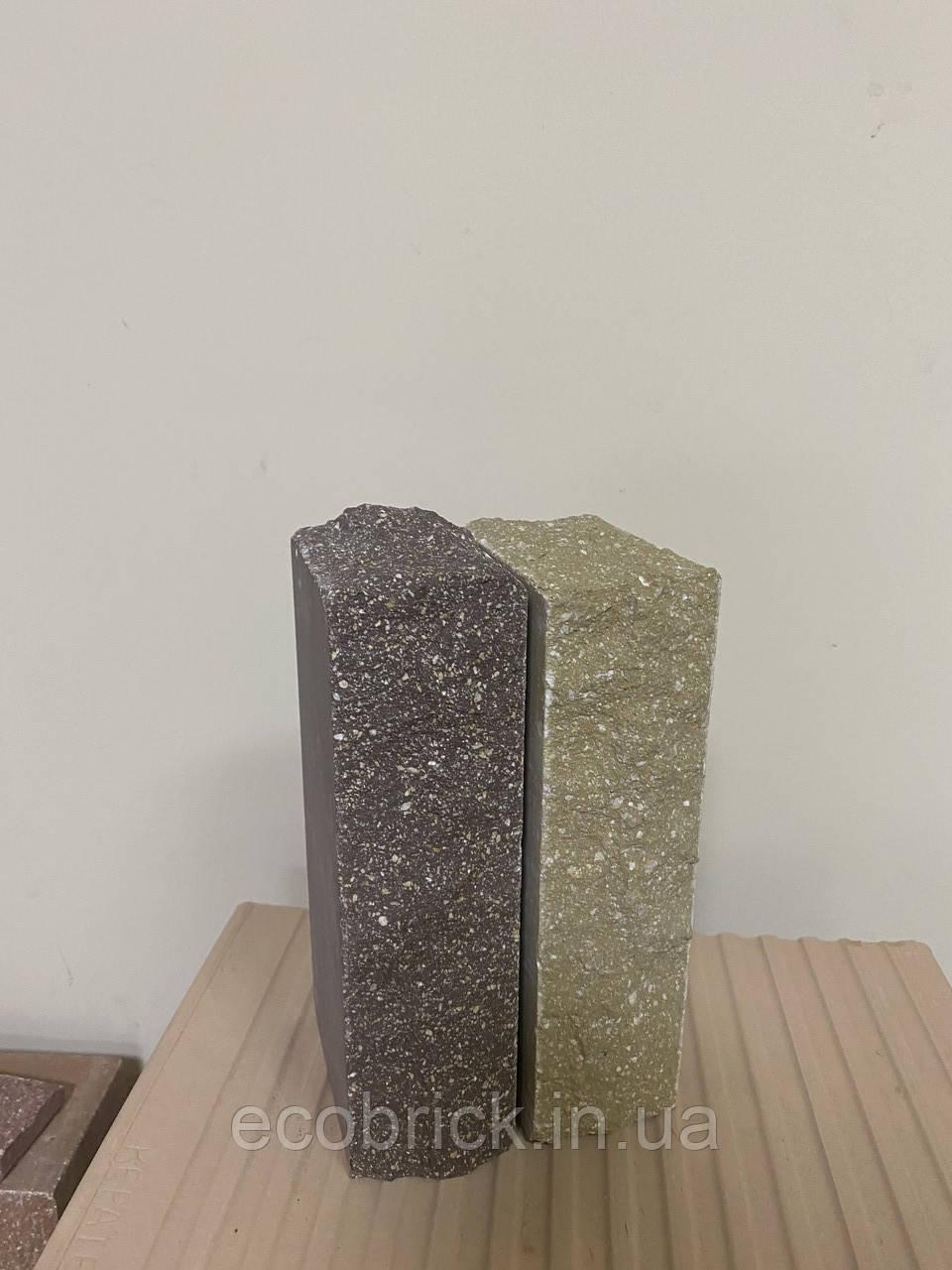 Кирпич облицовочный ECOBRICK скала ложок-тычок 230x100x65 мм коричневый, оливковый