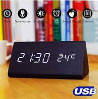 Настольные Электронные Часы в деревянном корпусе VST-861 черные, белая подсветка