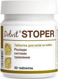 """ДОЛВИТ СТОПЕР DOLVIT STOPER """"DOLFOS"""", для лечения диареи у кошек и собак, 30 таблеток"""