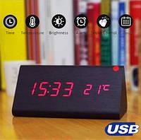 Настольные Электронные Часы в деревянном корпусе VST-861 черные, красная подсветка