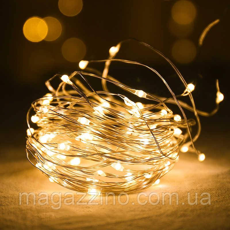Гирлянда нить светодиодная Капли Росы 40 LED, Золотая (Желтая), проволока, на батарейках, 4м.