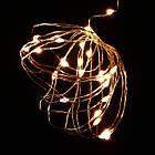 Гирлянда нить светодиодная Капли Росы 40 LED, Золотая (Желтая), проволока, на батарейках, 4м., фото 3