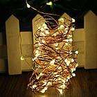 Гирлянда нить светодиодная Капли Росы 40 LED, Золотая (Желтая), проволока, на батарейках, 4м., фото 4