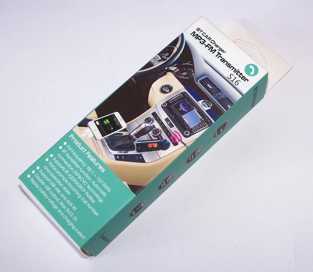 Автомобильный FM-модулятор CM-S16BL+BT, трансмиттер c Bluetooth, AUX, 2 USB, microSD/TF