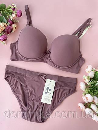 75/80C Сливовый комплект женского нижнего белья, гладкий бюст на тонком поролоне и косточках, трусики слип, фото 2