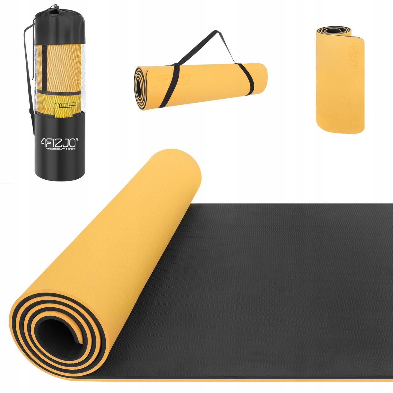 Коврик (мат) для йоги и фитнеса 4FIZJO TPE 1 см 4FJ0201 Orange/Black