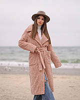 Зимнее пальто каракуль пудра L